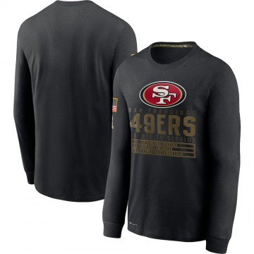 Men's Nike San Francisco 49ers Black 2020 Salute to Service Sideline Performance Long Sleeve T-Shirt -