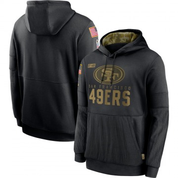 Men's Nike San Francisco 49ers Black 2020 Salute to Service Sideline Performance Pullover Hoodie -