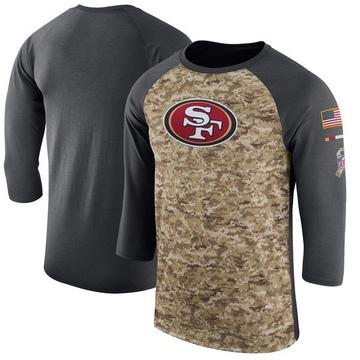 Men's Nike San Francisco 49ers Camo /Anthracite Salute to Service 2017 Sideline Performance Three-Quarter Sleeve T-Shirt - Legen