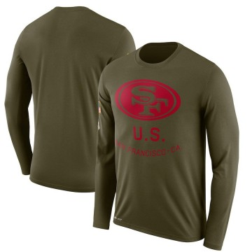 Men's Nike San Francisco 49ers Olive 2018 Salute to Service Sideline Performance Long Sleeve T-Shirt - Legend