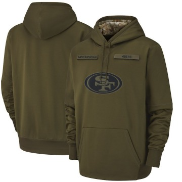 Men's Nike San Francisco 49ers Olive 2018 Salute to Service Sideline Therma Performance Pullover Hoodie -