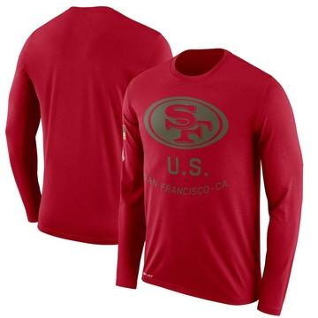 Men's Nike San Francisco 49ers Scarlet 2018 Salute to Service Sideline Performance Long Sleeve T-Shirt - Legend