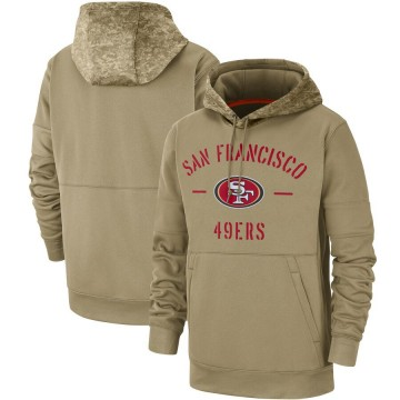 Men's Nike San Francisco 49ers Tan 2019 Salute to Service Sideline Therma Pullover Hoodie -
