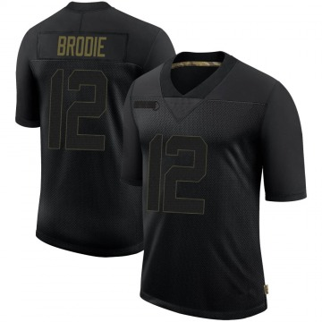 Men's San Francisco 49ers Wilson John Brodie Black 2020 Salute To Service Jersey - Limited