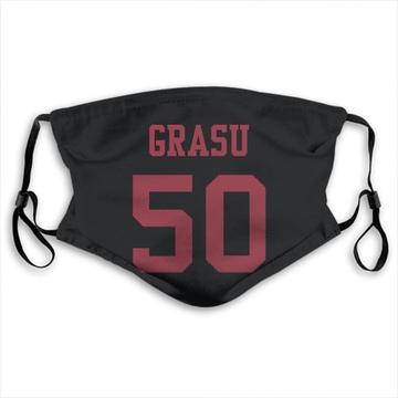 San Francisco 49ers Hroniss Grasu Black Jersey Name & Number Face Mask