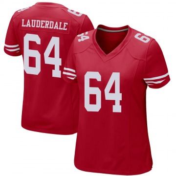 Women's Nike San Francisco 49ers Andrew Lauderdale Red Team Color Jersey - Game