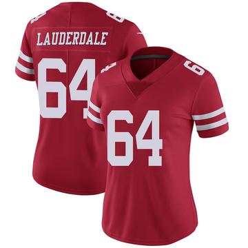Women's Nike San Francisco 49ers Andrew Lauderdale Scarlet 100th Vapor Jersey - Limited