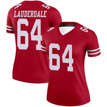 Women's Nike San Francisco 49ers Andrew Lauderdale Scarlet Jersey - Legend
