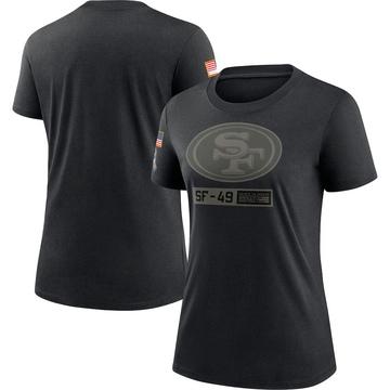 Women's Nike San Francisco 49ers Black 2020 Salute To Service Performance T-Shirt -