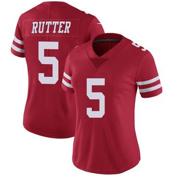 Women's Nike San Francisco 49ers Broc Rutter Scarlet 100th Vapor Jersey - Limited