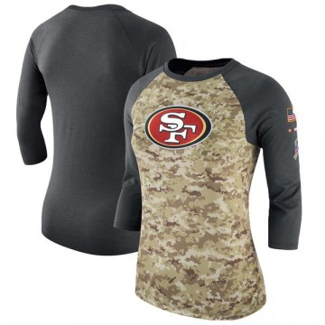 Women's Nike San Francisco 49ers Camo /Charcoal Salute to Service 2017 Three-Quarter Raglan Sleeve T-Shirt - Legend
