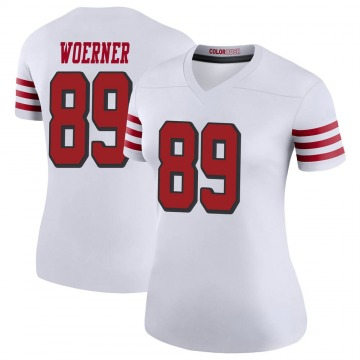 Women's Nike San Francisco 49ers Charlie Woerner White Color Rush Jersey - Legend