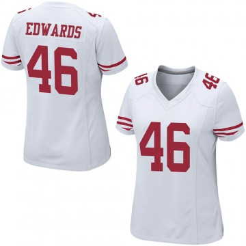 Women's Nike San Francisco 49ers Chris Edwards White Jersey - Game