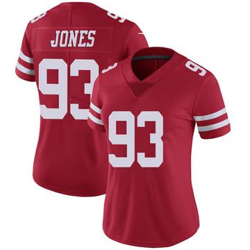 Women's Nike San Francisco 49ers D.J. Jones Scarlet 100th Vapor Jersey - Limited