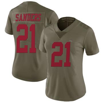 Women's Nike San Francisco 49ers Deion Sanders Green 2017 Salute to Service Jersey - Limited