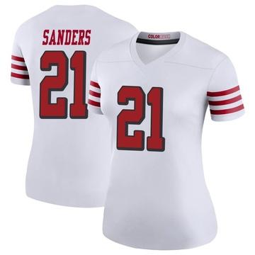 Women's Nike San Francisco 49ers Deion Sanders White Color Rush Jersey - Legend