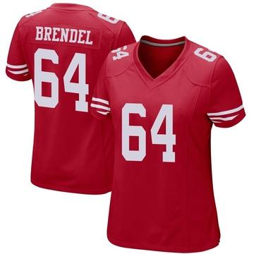 Women's Nike San Francisco 49ers Jake Brendel Red Team Color Jersey - Game