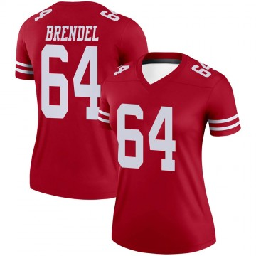 Women's Nike San Francisco 49ers Jake Brendel Scarlet Jersey - Legend