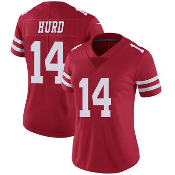 Women's Nike San Francisco 49ers Jalen Hurd Scarlet 100th Vapor Jersey - Limited