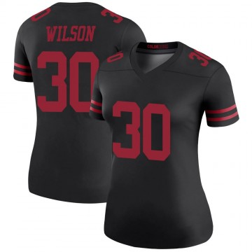 Women's Nike San Francisco 49ers Jeff Wilson Black Color Rush Jersey - Legend