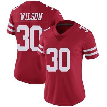 Women's Nike San Francisco 49ers Jeff Wilson Red Team Color Vapor Untouchable Jersey - Limited