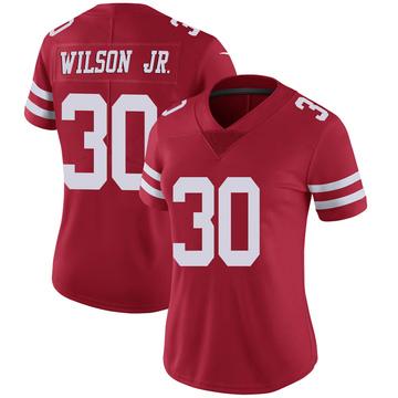 Women's Nike San Francisco 49ers Jeff Wilson Scarlet 100th Vapor Jersey - Limited