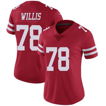 Women's Nike San Francisco 49ers Jordan Willis Scarlet 100th Vapor Jersey - Limited