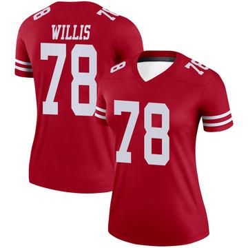 Women's Nike San Francisco 49ers Jordan Willis Scarlet Jersey - Legend