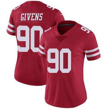 Women's Nike San Francisco 49ers Kevin Givens Scarlet 100th Vapor Jersey - Limited