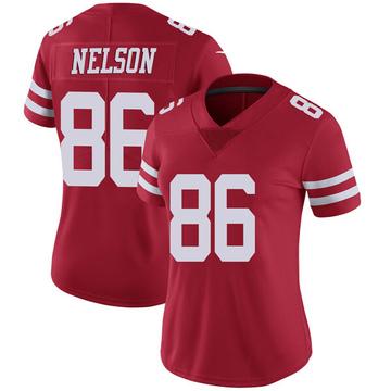 Women's Nike San Francisco 49ers Kyle Nelson Red Team Color Vapor Untouchable Jersey - Limited