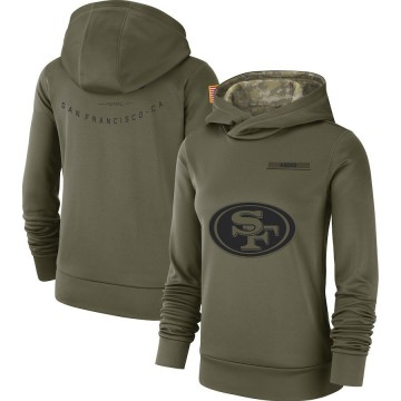 Women's Nike San Francisco 49ers Olive 2018 Salute to Service Team Logo Performance Pullover Hoodie -