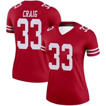 Women's Nike San Francisco 49ers Roger Craig Scarlet Jersey - Legend