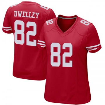 Women's Nike San Francisco 49ers Ross Dwelley Red Team Color Jersey - Game