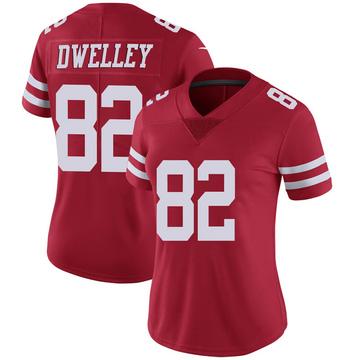Women's Nike San Francisco 49ers Ross Dwelley Scarlet 100th Vapor Jersey - Limited