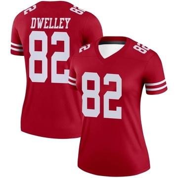 Women's Nike San Francisco 49ers Ross Dwelley Scarlet Jersey - Legend