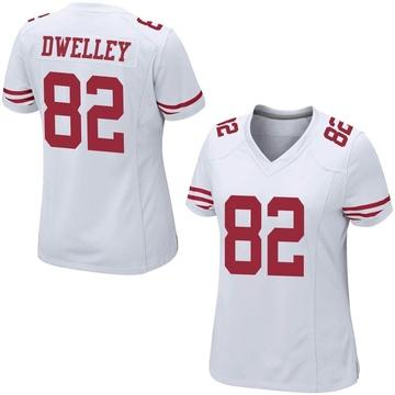 Women's Nike San Francisco 49ers Ross Dwelley White Jersey - Game