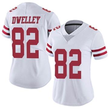 Women's Nike San Francisco 49ers Ross Dwelley White Vapor Untouchable Jersey - Limited