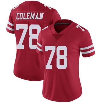 Women's Nike San Francisco 49ers Shon Coleman Red Team Color Vapor Untouchable Jersey - Limited