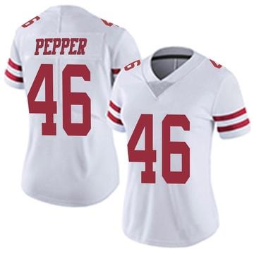 Women's Nike San Francisco 49ers Taybor Pepper White Vapor Untouchable Jersey - Limited