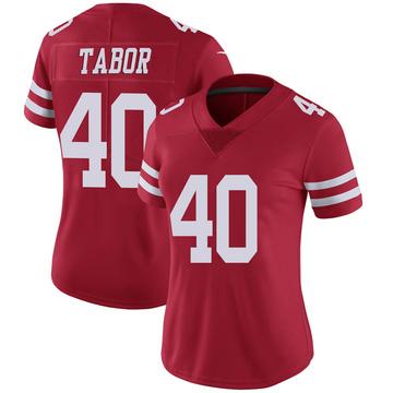 Women's Nike San Francisco 49ers Teez Tabor Scarlet 100th Vapor Jersey - Limited
