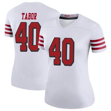 Women's Nike San Francisco 49ers Teez Tabor White Color Rush Jersey - Legend