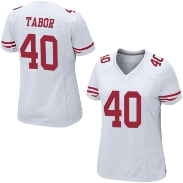 Women's Nike San Francisco 49ers Teez Tabor White Jersey - Game