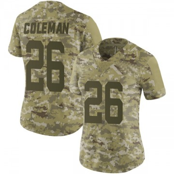 Women's Nike San Francisco 49ers Tevin Coleman Camo 2018 Salute to Service Jersey - Limited