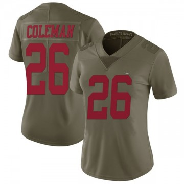 Women's Nike San Francisco 49ers Tevin Coleman Green 2017 Salute to Service Jersey - Limited