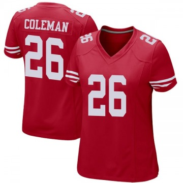 Women's Nike San Francisco 49ers Tevin Coleman Red Team Color Jersey - Game