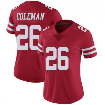 Women's Nike San Francisco 49ers Tevin Coleman Scarlet 100th Vapor Jersey - Limited