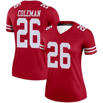 Women's Nike San Francisco 49ers Tevin Coleman Scarlet Jersey - Legend