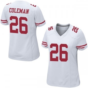 Women's Nike San Francisco 49ers Tevin Coleman White Jersey - Game
