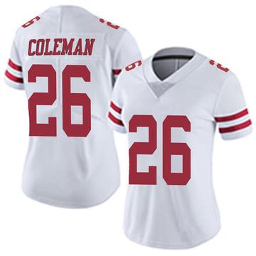 Women's Nike San Francisco 49ers Tevin Coleman White Vapor Untouchable Jersey - Limited