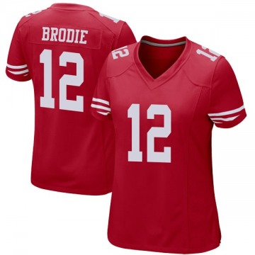 Women's Nike San Francisco 49ers Wilson John Brodie Red Team Color Jersey - Game